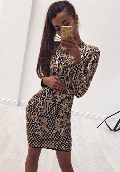 Golden Plaid Floral Print Bright Wire Band Collar Backless Mini Dress