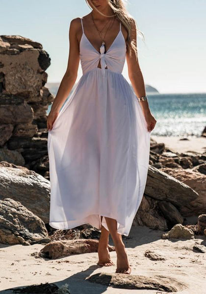 White Cut Out Draped Knot Spaghetti Strap Flowy Bohemian Beachwear Party Maxi Dress