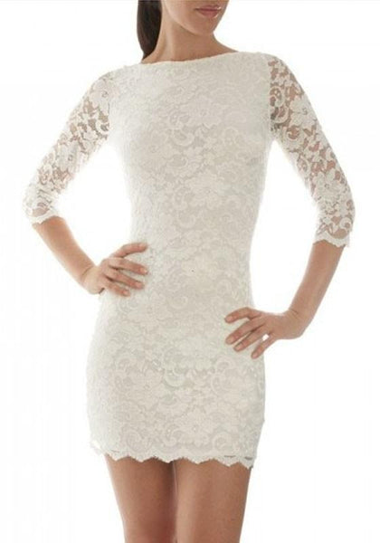White Patchwork Lace Tie Back Round Neck Mini Dress
