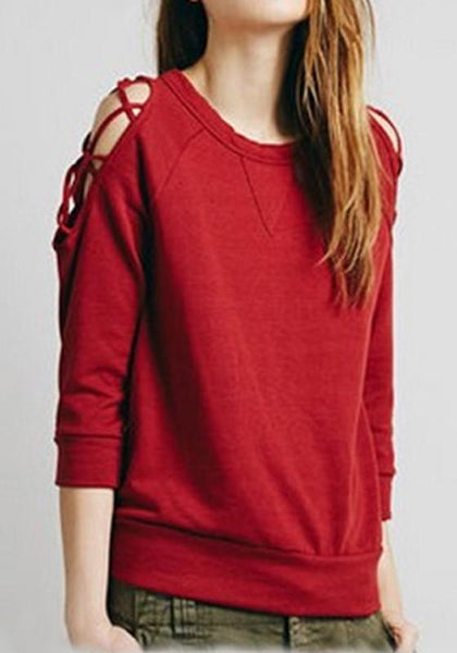 Red Cut Out Round Neck Long Sleeve Casual T-Shirt