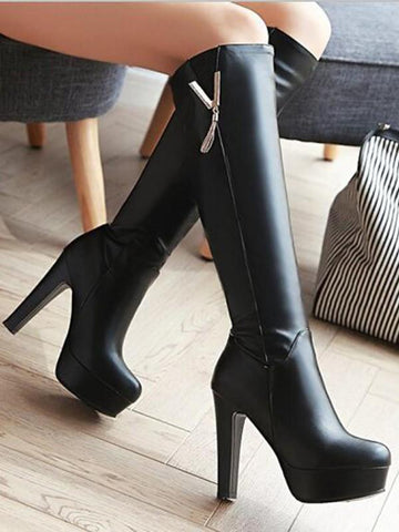 New Black Round Toe Chunky Metal Decoration Tassel Fashion Knee-High Boots