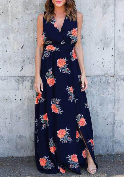 Black Floral Print Belt V-neck Slit Side Fashion Maxi Dress