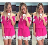 Rose Carmine Patchwork Lace Single Breasted Off Shoulder Mini Dress