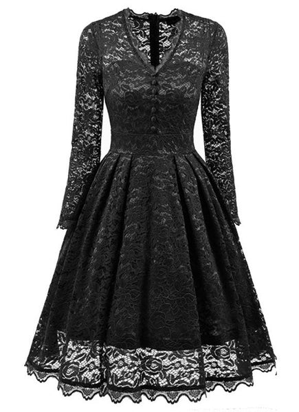 Black Lace Single Breasted Pleated V-neck Long Sleeve Midi Dress