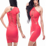 Red Hollow-out Asymmetric Shoulder One-shoulder Bodycon Club Mini Dress