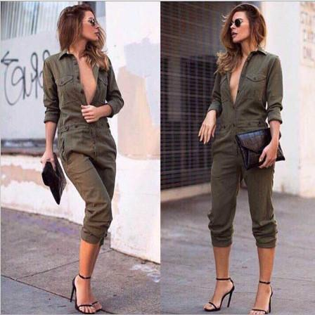 Pure Color Button V-neck Long Sleeves Knee-length Jumpsuit