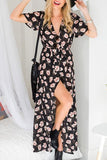 Flower Print Split Maxi Dress