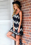 Black Patchwork Tassel Spaghetti Strap Off Shoulder Wavy Edge Beach Mini Dress