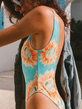 Open Back Flower Print One-piece Swimsuit