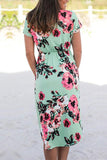 Mulan Rose Floral Print Midi Dress