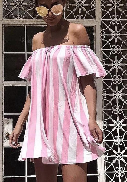 Pink Striped Boat Neck Short Sleeve Mini Dress