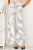 Mid-Waist Striped Drawstring Blending Pants