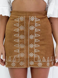 Brown Faux Suede Embroidery Pencil Skirt