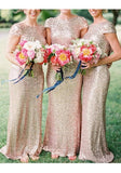 Golden Sequin V-Back Bridesmaid Round Neck Party Prom Fashion Maxi Dress