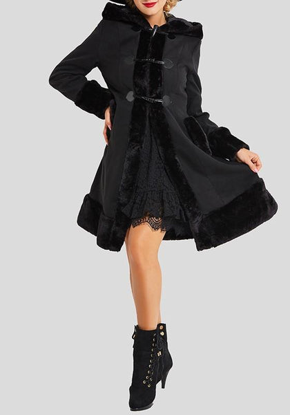 Black Patchwork Fur Collar Pockets Buttons Drawstring Long Sleeve Coat