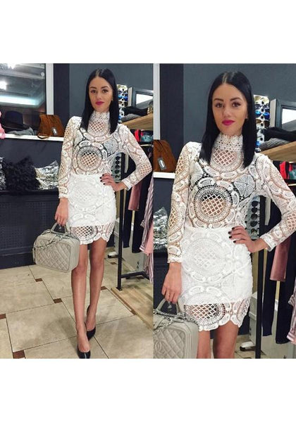 White Patchwork Hollow-out Lace Double-deck Zipper High Neck Mini Dress