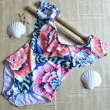 Charming Boat Neck Floral Print One-piece Swimwear