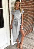 Grey Belt Round Neck Short Sleeve Fashion Midi Dress