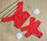 Cross Red High waisted Solid Bikinis