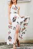 Backless Flower Print Split Dress