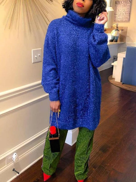 New Royal Blue Bright Wire Glitter High Neck Lantern Sleeve Sparkly Casual Midi Dress