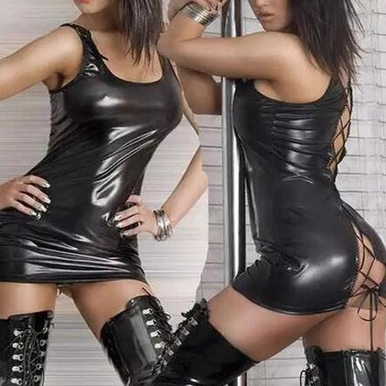 Black Plain Hollow-out Cross Back Lace-up PU Leather Skinny Club Mini Dress