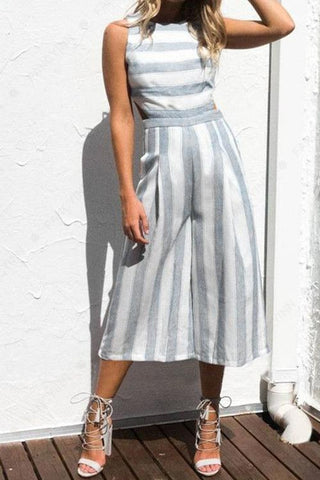 Linen Striped Regular Jumpsuits
