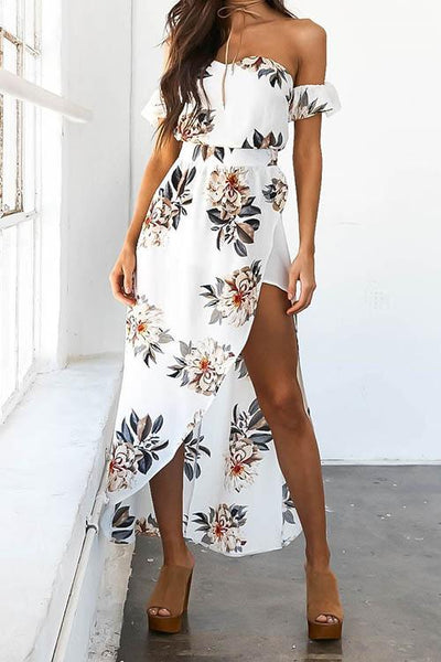 Mulan  White Flower Print Off The Shoulder Maxi Dress