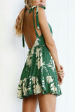 Green Spaghetti Strap Sleeveless Mini Dress