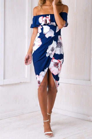 Blue Flower Print Off The Shoulder Sheath Dress