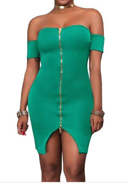 Green Zipper Bandeau Slit Off Shoulder Backless Bodycon Club Mini Dress