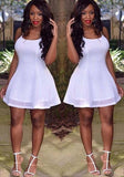White Draped Backless Double-deck Spaghetti Straps Round Neck A-line Mini Dress