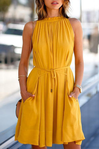Casual Belted Yellow Mini Pleated Dress