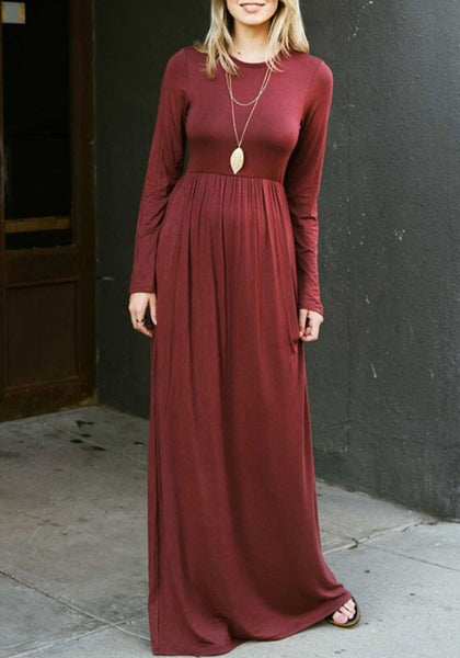 Burgundy Draped Pockets Round Neck Long Sleeve Casual Maxi Dress