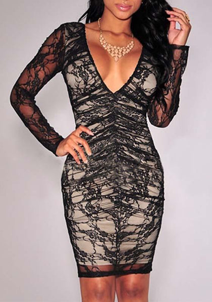 Black Patchwork Lace Backless Deep V-neck Long Sleeve Bodycon Party Mini Dress