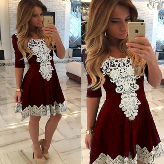 Patchwork Lace Draped Pleated Round Neck Skater Cute Mini Dress