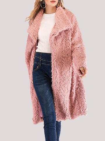 New Pink Faux Fur Turndown Collar Long Sleeve Oversize Coat