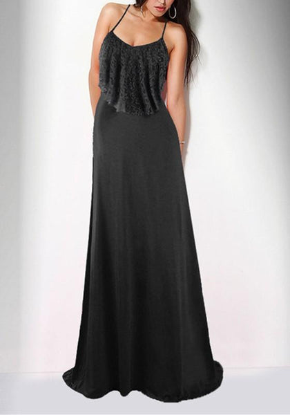 Black Lace Ruffle Spaghetti Strap High Waisted Bridesmaid Elegant Banquet Party Maxi Dress