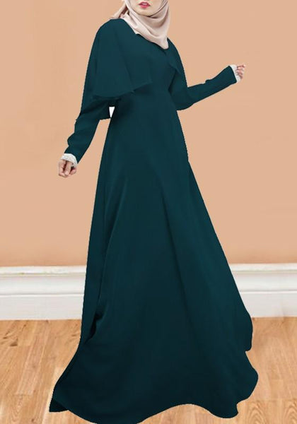 Green Draped Cape Round Neck Long Sleeve Muslim Maxi Dress