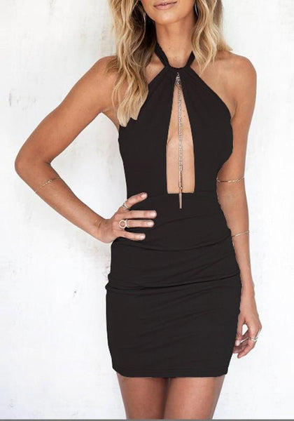 Black Cut Out Tie Back Halter Neck Open Back Mini Dress