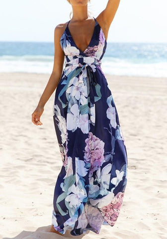 Dark Blue Flowers Belt Cross Back Deep V-neck Maxi Dress
