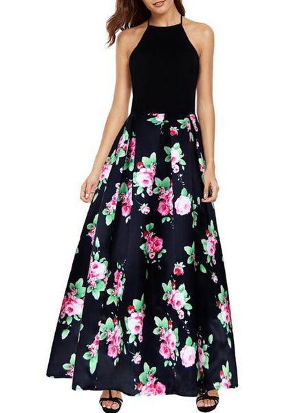 Black Floral Print Backless Draped Tie Back Halter Neck Vintage Maxi Dress