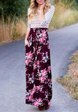 Floral Sashes Pockets Round Neck Casual Maxi Dress