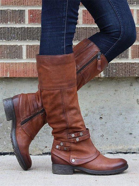 Women Casual Daily Zipper Mid-Calf Boot Shoes