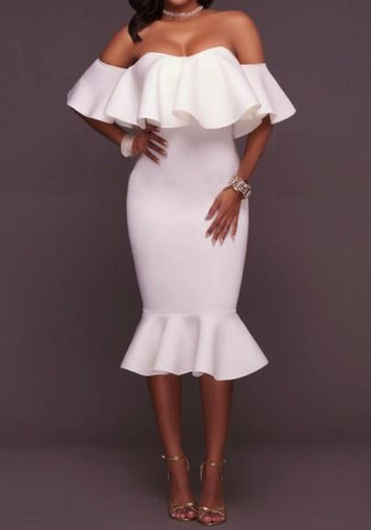 White Plain Ruffle Boat Neck Elbow Sleeve Maxi Dress