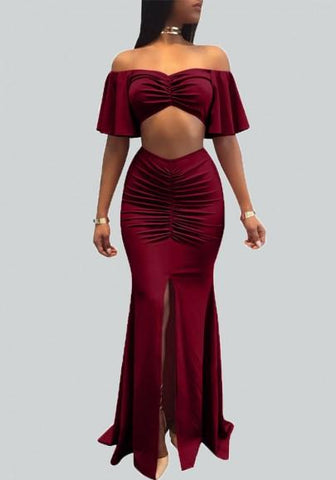 Burgundy Draped Slit Off Shoulder Backless Ruched Mermaid Two Piece Party Maxi Dress