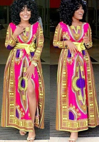 Yellow-Red Tribal Floral Print Sashes Site Slit Bohemian Homecoming Maxi Dress