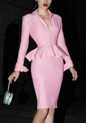 Pink Buttons Slit Peplum Formal V-neck Two Piece Bodycon Sweet Midi Dress