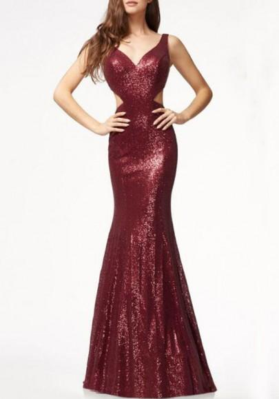Burgundy Sequin Cut Out Backless Mermaid Deep V-neck Elegant Cocktail Party Maxi Dress