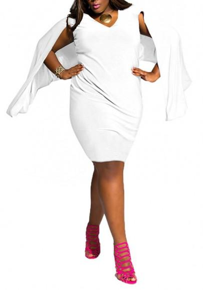 White Plain Draped Cape Plus Size V-neck Homecoming Midi Dress
